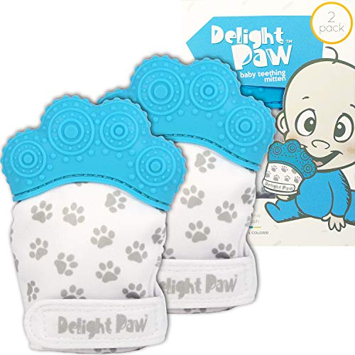 Delight Paw Baby Teething Mitten Mom Designed   Self Soothing Pain Relief   Hygienic Travel Bag   No BPA   Like Munch Mitt   Baby Boy Baby Girl   Babies 0-12 Months   Bubbly Blue   2 Pack