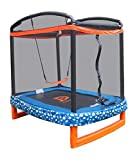 JUMP POWER 72'' x 50'' Rectangle Indoor/Outdoor Trampoline & Safety Net with Swing Combo. for Toddlers & Kids, Blue, Black, Orange, Green, White (JP07-R01-72)
