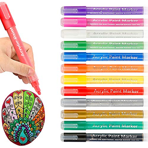 12 Colors Acrylic Paint Pens, Large Capacity Rocks Painting Markers Set for Ceramic, Glass, Wood, Fabric, Canvas, Mugs, DIY Craft Making Supplies, Scrapbooking Craft, Card Making