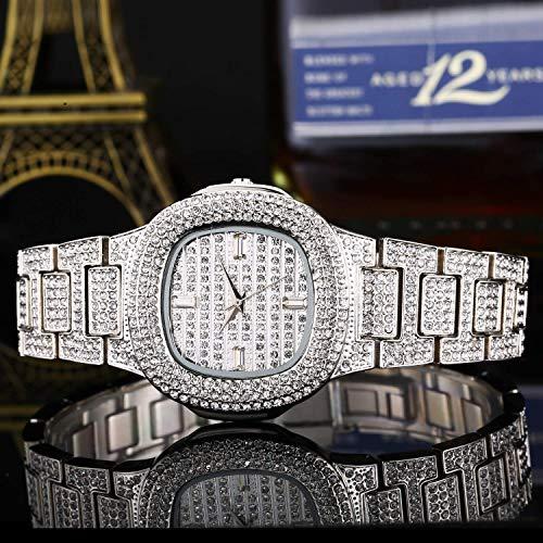 GYR Reloj de Mujer con Tachuelas de Diamantes, Brillante y Lleno de Reloj de Pulsera de Cuarzo de Diamantes gfh Plata
