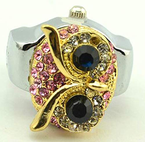 Multicolor Owl Cartoon Diamond Finger Watch Clamshell Ring Watch, Animal Ring Table Ajustable Stretchy Watchband Elastic Band Finger Watches Ring Unisex,Rosado
