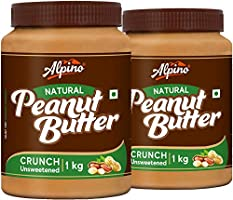 Alpino Natural Peanut Butter Crunch 2 KG | Unsweetened | Made With 100% Roasted Peanuts | No Added Sugar | No Added Salt...
