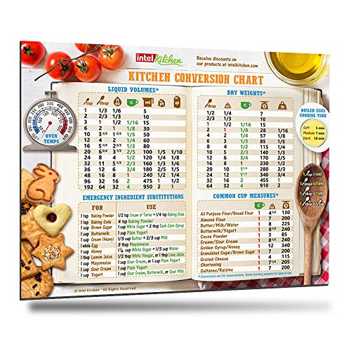 Best Cool Design Kitchen Conversion Chart 8'x11' 50% More Data Big Magnet & Fonts Easy to Read Magnetic Cookbook Accessories Cooking Baking Metric Measuring Measurement Unique Gift – Matt Surface