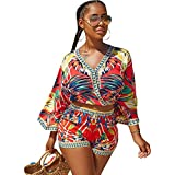 Women's 2 Pcs African Print Crop Tops +Shorts Set Two Piece Outfit Suit Red L