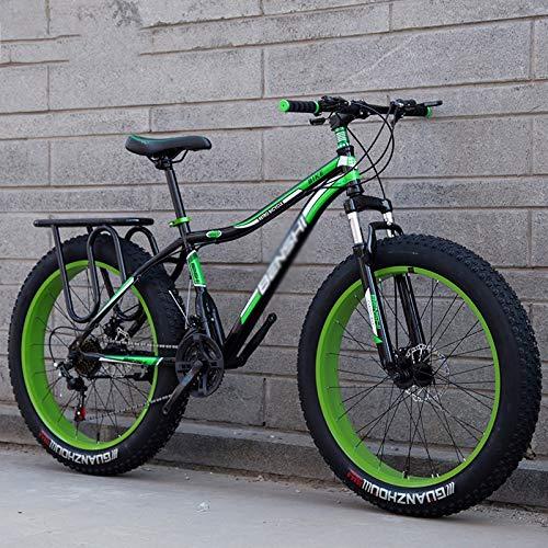 Rindasr 26-Zoll-27-Gang Mountainbike, 4.0 Maxi-Reifen Fahrrad-Breitreifen Stoßdämpfung mit Variabler Geschwindigkeit Mountainbike, mit hohem Kohlenstoffstahlrahmen + Doppelscheibenbremse Travel Bike