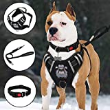 TIANYAO Dog Harness No-Pull Dog Vest Set Reflective Adjustable Oxford Material Pet Harness for Medium Large Dogs with Leash and Collar (Large(Chest:25-35'), Black)