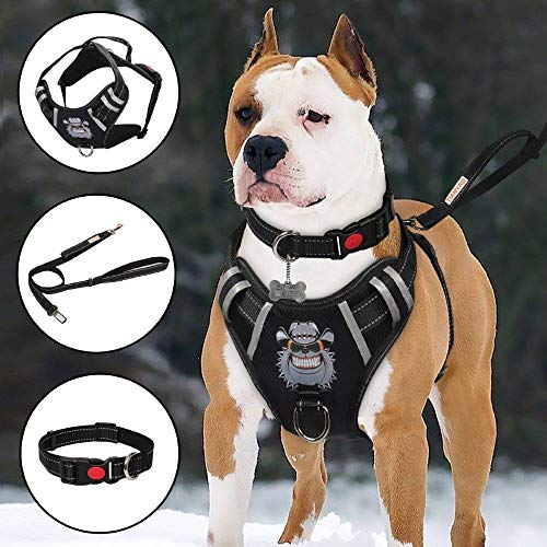 """TIANYAO Dog Harness No-Pull Dog Vest Set Reflective Adjustable Oxford Material Pet Harness for Medium Large Dogs with Leash and Collar (Large(Chest:25-35""""), Black)"""