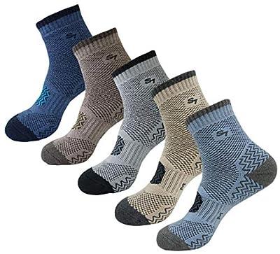 SEOULSTORY7 5pack Men's Full Cushion Mid Quarter Length Hiking Socks 5Pair Color Assortment Medium
