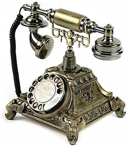 WDXJC Estilo Europeo teléfono de casa Retro inalámbrica casa teléfono de marcación rotativa con el Oro Tono de Llamada Retro se Puede Insertar en una Tarjeta de teléfono móvil