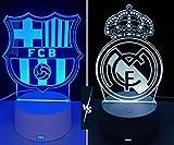 Lámpara decorativa mesita de noche FC Barcelona 🏆 lámpara led de mesa futbol ilusión óptica 3d para regalo (Barça)