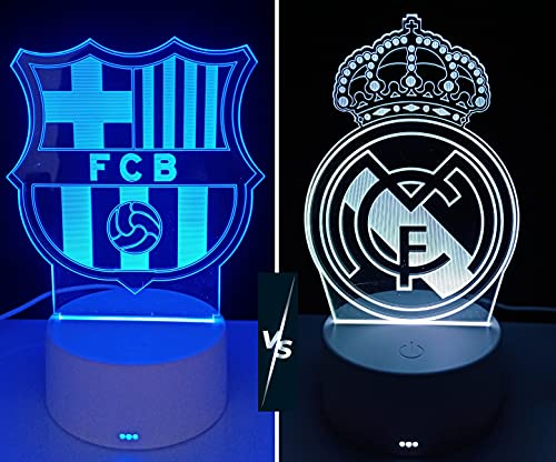 Lámpara decorativa mesita de noche FC Barcelona  lámpara led de mesa futbol ilusión óptica 3d para regalo (Barça)