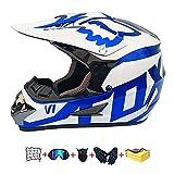 Casco Moto niño,Casco Motocross niño Moto Set con Gafas/Máscara/Guantes Casco Motocross (6unidades) Apto para Cuatro Estaciones (C, 59-60CM)
