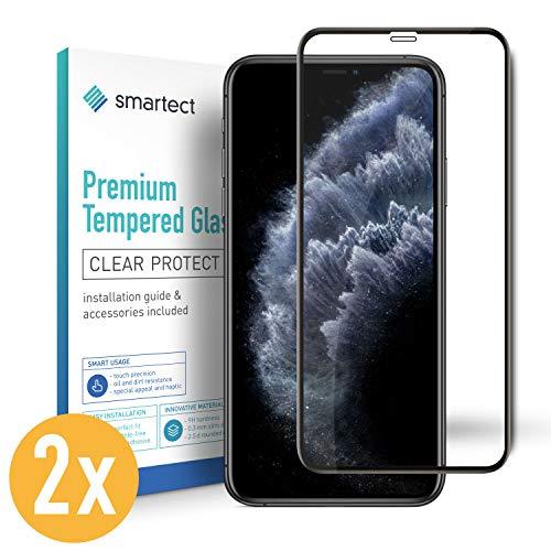 smartect Full Screen Beschermglas compatibel met iPhone 11 Pro [2x Full Screen] - screen protector met 9H hardheid - bubbelvrije beschermlaag - antivingerafdruk kogelvrije glasfolie