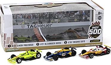 Greenlight 10856 2019 Indianapolis 500 Podium 3-Car Set - #22 Pagenaud, 27 Rossi, 30 Sato 1/64 Scale Indy Diecast