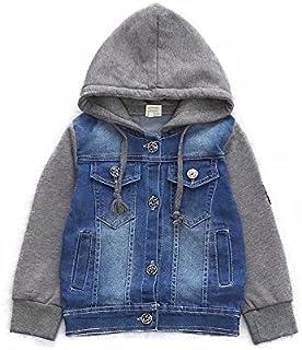 AMIGOYO 子供服 コート 男の子 デニム ジャケット フード付き アウター 長袖 裏起毛 厚手 春秋冬 ボーイズ 防風服 人気 かっこいい おしゃれ
