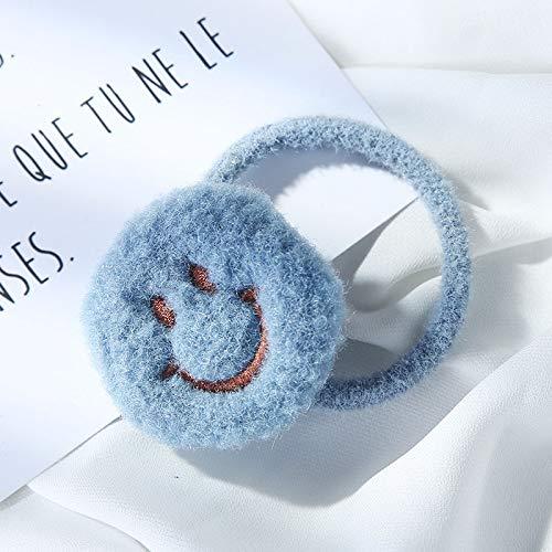 Herfst En Winter Pluche Smiley Gezicht Haar Touw Honderd Haar Ring Hoofd Touw Tie Paard Staart Lederen Band Koreaanse Net Rood Fluweel Haar Versiering Vrouwelijk