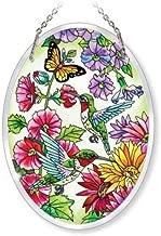 Amia Beveled Glass Medium Oval Suncatcher Hand-Painted Hummingbird Design, 5-1/2 by 7-Inch