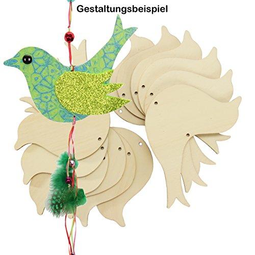Vogel Holz 12 Stück Vogel Pappel-Sperrholz gelasert Holzvogel Dekoration ca. 14x10,5 cm Holzdeko zum Auf-hängen Holzfiguren Vogelform 4mm stark bemalen gestalten verzieren Wohndeko 4190141