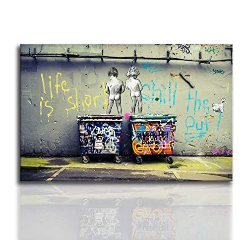 Banksy Graffiti Art Pintura de pared Arte callejero Impresión infantil sobre lienzo Cuadro de lienzo Pintura al óleo para sala de estar Decoración mural (60 x 90 cm), sin marco)