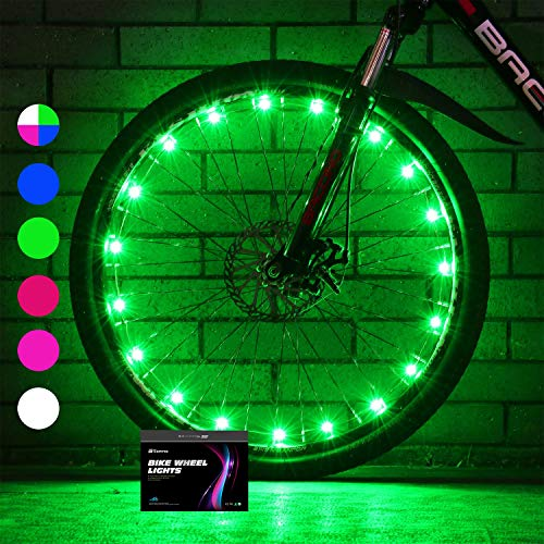 Sumree 2-Tire Pack LED Bike Wheel Lights Bike Spoke Light Super Bright Cycling Bicycle Light with Batteries Included (Green)