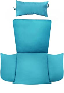 Island Gale Hanging Basket Chair Cushion Replacement with Head Pillow by, Removable Cover, with Attached ties (Blue)