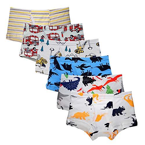 Kidear Unterwäsche, weich, für Kinder, aus Baumwolle, Unterhose, verschiedene Unterhosen, für kleine Jungen (6 Stück) Gr. 4-5 Jahre, Style4