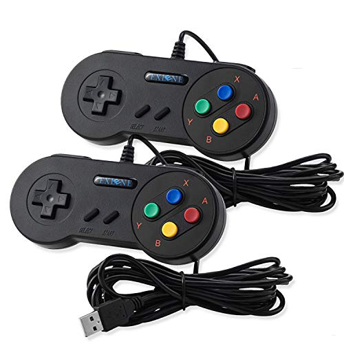 EXLENE 2 Pack USB SNES Controllore GamePad Joystick 10ft/3m, SNES giochi USB per PC Windows Ubuntu Raspberry Pi 3 Retropie Sega Genesis (Nero)