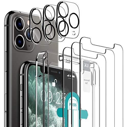 LK Compatible con iPhone 11 Pro MAX Protector de Pantalla,3 Pack Cristal Templado y 3 Pack Protector de Lente de cámara, Doble protección
