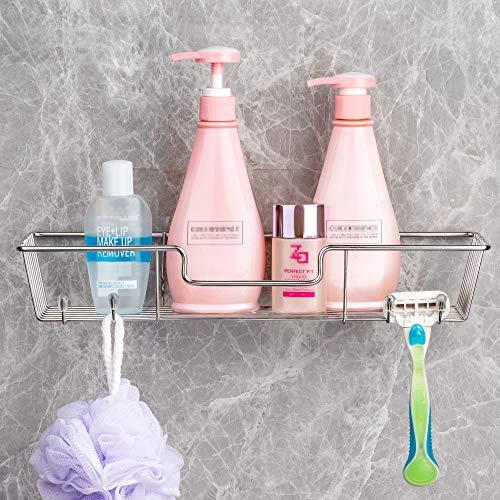 iPEGTOP - Estante calcomanía para ducha con ganchos para champú y acondicionador, organizador de cocina, sin perforación, montaje en pared, acero inoxidable, 1 paquete