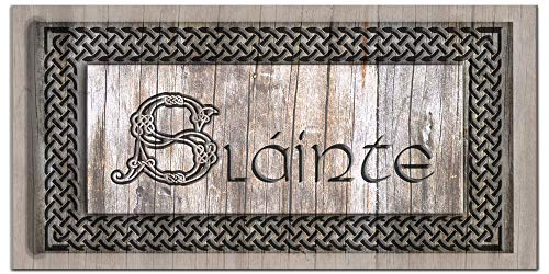 Sláinte Decor - Irish Wall Art, Your Health Gaelic Drinking Blessing Saying, Large Canvas, Real Wood Frame, Ready to Hang, Ideal Sign Above Irish Bar, Man Cave, Living Room Decor, Housewarming Gift