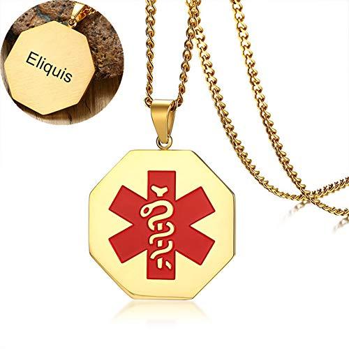 LiFashion LF Edelstahl Gold überzogene personalisierte Ice Eliquis Medical Alert Halskette Octagon medizinische ID Tag Anhänger Awareness SOS Notfall Allergie Schmuck für Männer,Frauen