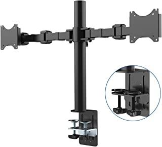 """Fleximounts Dual Desk Monitor Mount Stand  Full Motion Monitor Arms for 2 Screens up to 27"""" LCD Monitor (Dual side-by-side)"""