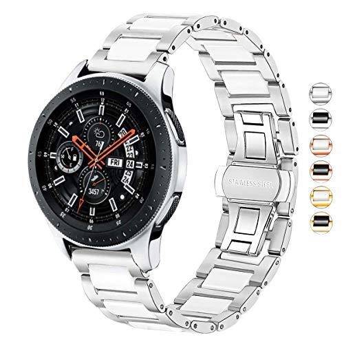 Correa compatible con Samsung Gear S3 Frontier/Classic/Galaxy Watch 46 mm/Huawei GT2 46 mm, 22 mm de cerámica sólida de acero inoxidable, color plateado y blanco