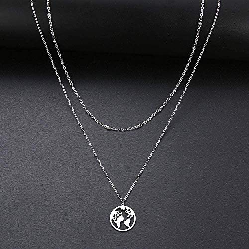 Zaaqio Collar corazón/Mapa del Mundo/Gargantilla Cruzada de Palo para Mujer, Gargantilla de Cuentas Multicapa, joyería de Acero Inoxidable de Color Dorado