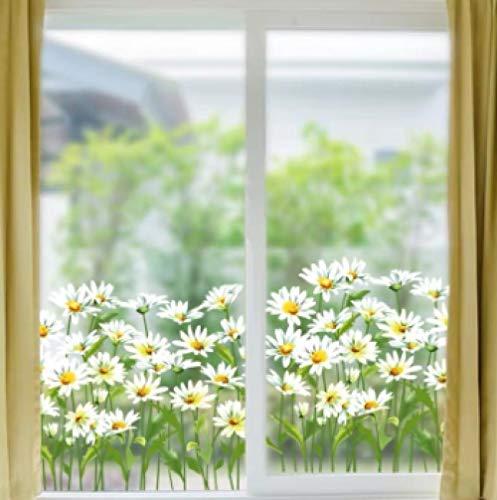 Etiqueta de la ventana Etiqueta de la pared Cintura Vinilo Bricolaje Fácil de quitar fácilmente Margarita Flores Decoración del hogar Ventana Espejo de la puerta