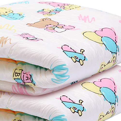 Baby Cuties L LittleForBig Printed Adult Brief Diapers Adult Baby Diaper Lover ABDL 2 Pieces