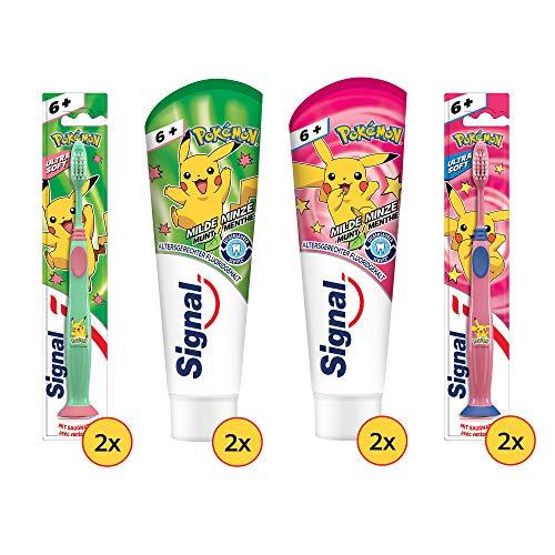 Signal Junior Zahnpflege-Set für Kinder ab 6 Jahren:4x Zahnpasta Junior 75ml &4x Zahnbürste Junior, Design für Mädchen geeignet