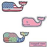 3X VINEYARD VINES Whale Vinyl Stickers - American Flag, Patchwork, Classic Pink - PREPPY 2.0 x 4.5'
