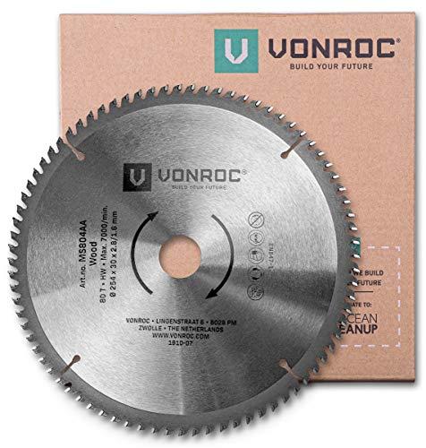 VONROC Kappsägeblatt - Gehrungssägeblatt 254 mm - 80 Zähne – für Holz – Universal - Auch für Tischkreissägen