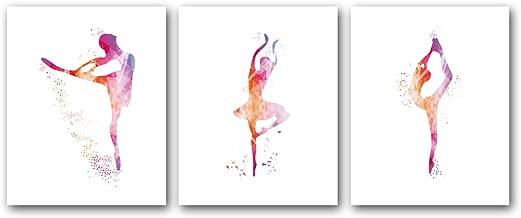 Unframed Ballerina Art Print Elegant Ballet Girls Art Painting, Set of 3(8''x10'') Canvas Dancer Poster Picture for Beautiful Girls or Women Room Decor