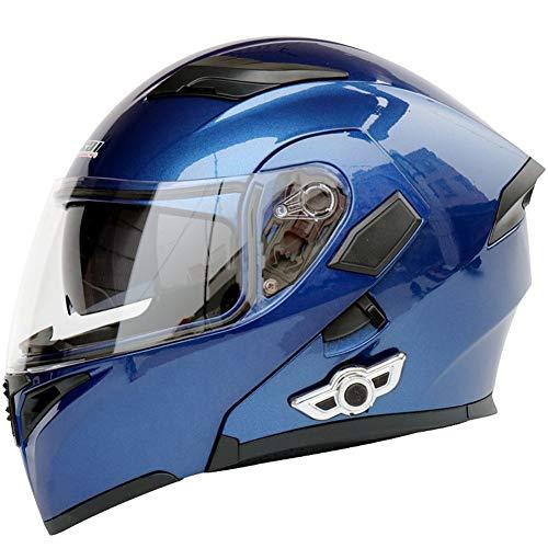 AI FAN Bluetooth Integrado Casco de Moto Modular con Doble Visera Cascos de Motocicleta ECE Homologado Adultos Masculinos y Femeninos Cascos Modulares