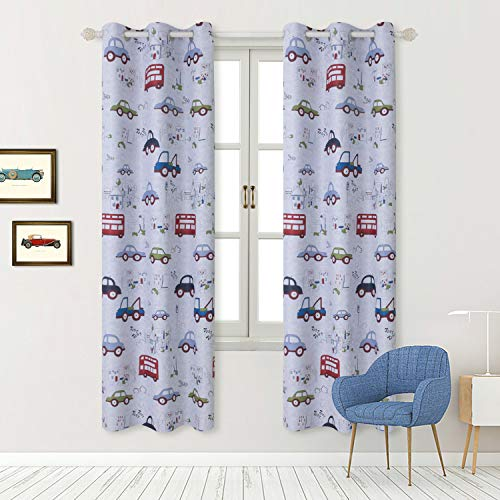 BGment Kids Blackout Curtains - Grommet Thermal Insulated Room Darkening Printed Car Bus Patterns Nursery and Kids Bedroom Curtains, Set of 2 Curtain Panels (42 x 84 Inch, Greyish White)