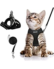 AOKCATS Cat Harness and Leash for Walking Escape Proof, Soft Adjustable Cat Leash and Harness Set with Reflective Strip & Hook and Loop Cat Vest Harness and Leash for Cats Kitten Small Pet
