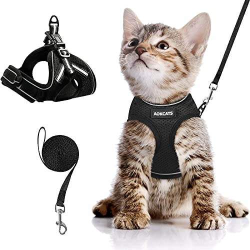 AOKCATS Cat Harness and Leash for Walking Escape Proof, Soft Adjustable Cat Leash and Harness Set with Reflective Strip & Hook and Loop Cat Vest Harness and Leash for Cats Kitten Small Pet, Black, S