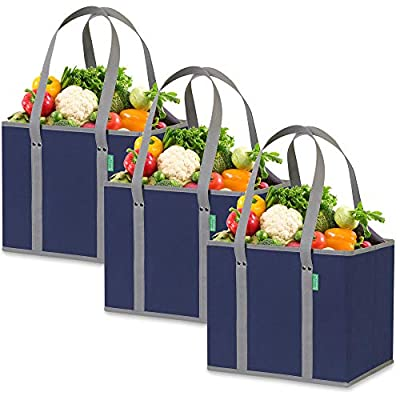 Reusable Shopping Box Bags (3 Pack - Blue/Gray). Large, Premium Quality Reusable Grocery Bags with Rigid Sides & Reinforced Bottom. Reusable Shopping Bags for Groceries - Collapsible Storage Tote Bags