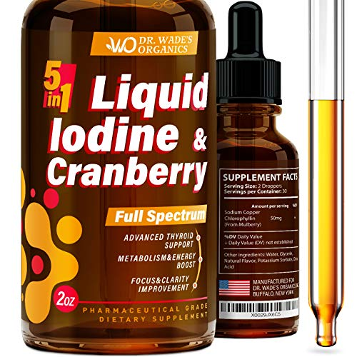 Iodine Supplement for Thyroid Support - Iodine Drops for Weight Loss & Metabolism Boost - Lugol's Solution Made in USA - Effective Energy Boost - Liquid Iodine for Focus & Clarity Improvement