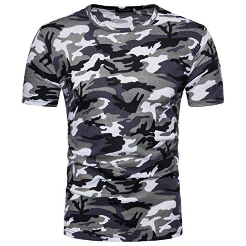 SHOBDW Ropa de Camuflaje de los Hombres de impresión O Cuello Jersey Camiseta Blusa Superior (Gris, XL)