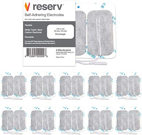 reserv 40 Pack of 2 x 4 Premium Re Usable Self Adhesive Electrode Pads for TENS EMS Unit Fabric product image