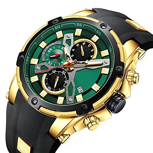 QIAI Reloj De Cuarzo De Negocios para Hombre, Reloj Deportivo, Reloj Cronógrafo Multifunción, Reloj De Cuarzo con Calendario Impermeable Y Luminoso(Color:C)