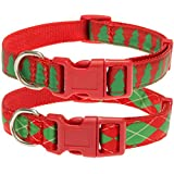 2 Pack Christmas Dog Collar Adjustable - Christmas Tree and Rhombus Style for Small Medium Large Doggy Doggie